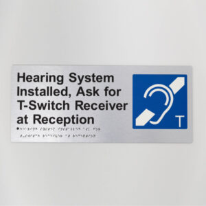 Roger Hearing augmentation sign braille