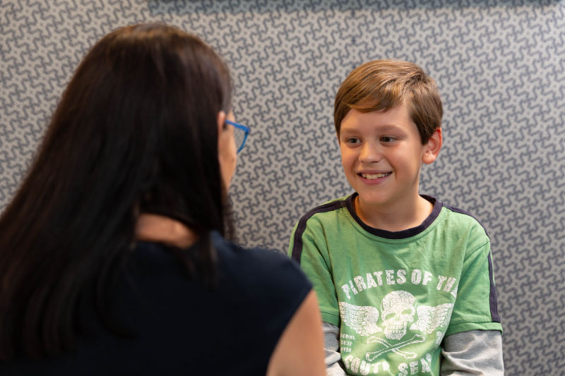 child boy with audiologist