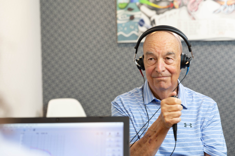 hearing test-assessment man with headphones